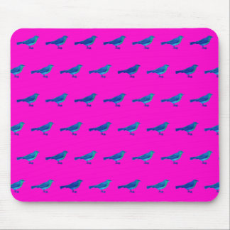 Pink Mouse Pad With Vintage Bird Pattern