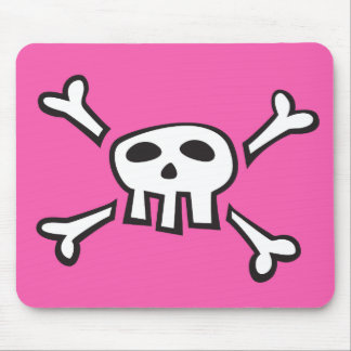 Pink mousepad with pirate skull cartoon for kids