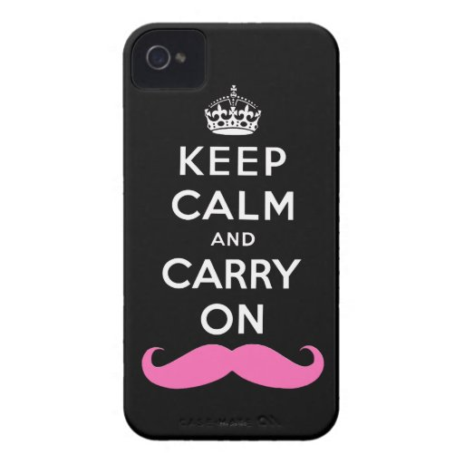 Pink Moustache Keep Calm and Carry On iPhone Case Case-Mate iPhone 4 Cases