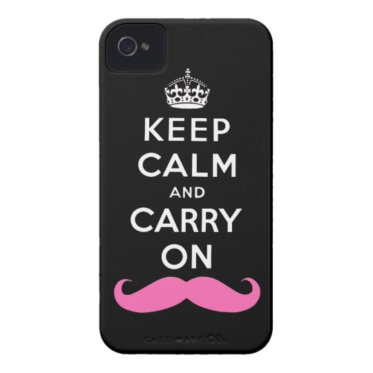Pink Moustache Keep Calm and Carry On iPhone Case