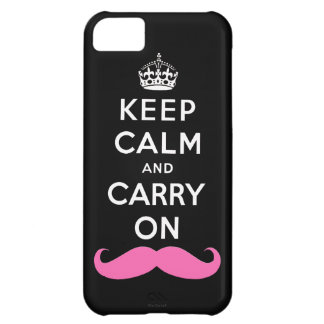 Pink Moustache Keep Calm and Carry On iPhone Case iPhone 5C Case