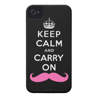 Pink Moustache Keep Calm and Carry On iPhone Case iPhone 4 Cases