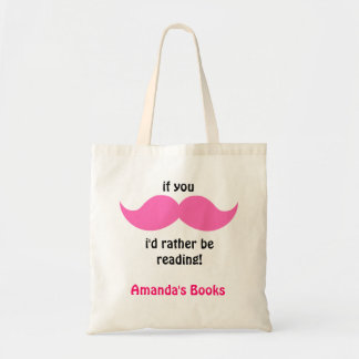 Pink Moustache Library Book Bag, add your name