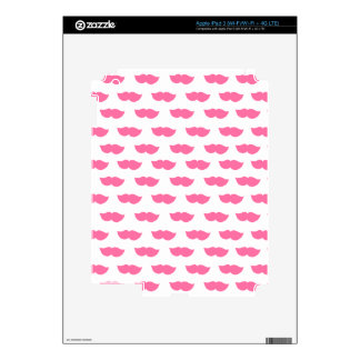 Pink Moustaches Decals For iPad 3