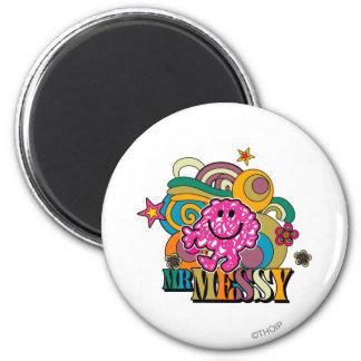Pink Mr. Messy | Colorful Swirls & Stars Magnet