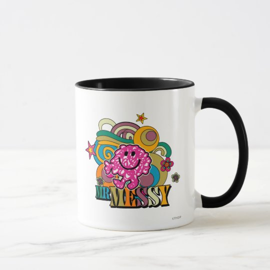Pink Mr. Messy | Colorful Swirls & Stars Mug