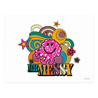 Pink Mr. Messy | Colorful Swirls & Stars Postcard