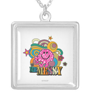 Pink Mr. Messy | Colorful Swirls & Stars Silver Plated Necklace