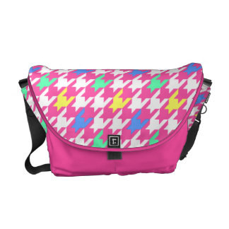 Pink Multi Color Houndstooth Messenger Bag