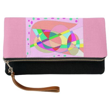 Pink multi patterned fold over clutch bag