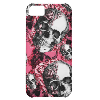 Pink multi skull and roses artwork from PJ. iPhone 5C Case