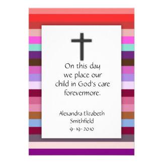 Pink Multi Stripe Cross Girls Baptism Invitations