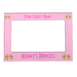 Pink mummy's princess and crown magnetic picture frame