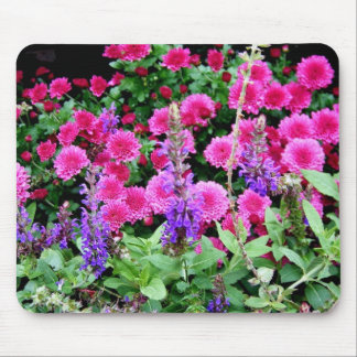 Pink Mums and Purple Flowers Mouse Pad