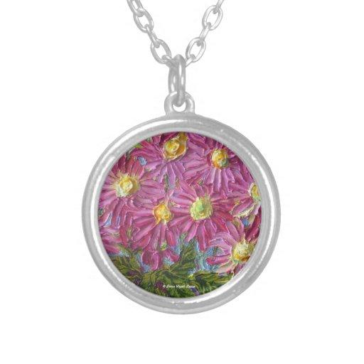 Pink Mums Art Necklace