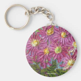 Pink Mums Basic Round Button Keychain