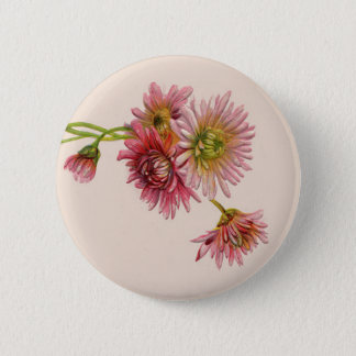 PINK MUMS by SHARON SHARPE Pinback Button