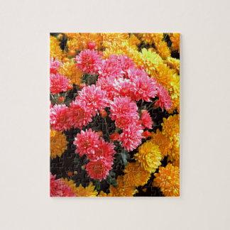 Pink Mums Flower Garden by Sharles fine art Puzzle