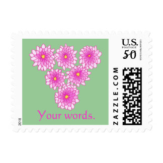 Pink Mums Flowers Your text Stamps