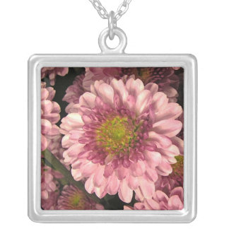 Pink Mums Silver Plated Necklace