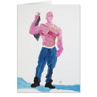 Pink Muscleman Holding T-shirt Card