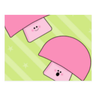 Pink Mushroom Calender Postcard