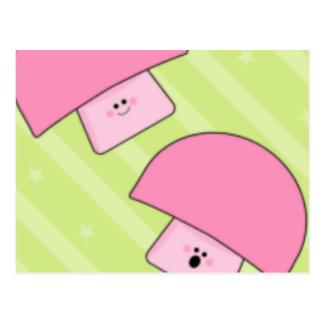 Pink Mushroom Cue Cards Postcard
