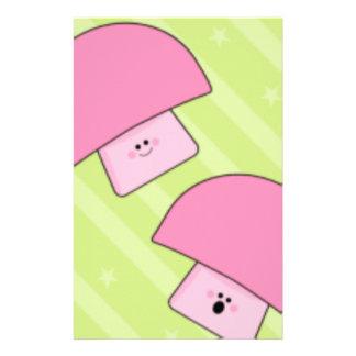 Pink mushroom custom stationery