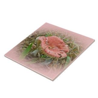 Pink Mushroom - Right Facing Ceramic Tile