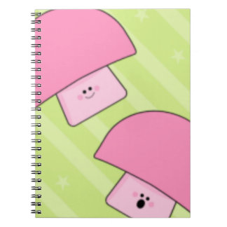 Pink Mushroom Spiral Notebooks