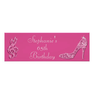 Pink Music Note and Stiletto 65th Birthday Poster