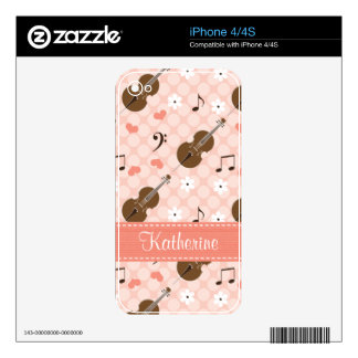 Pink Music Note Cello iPhone 4 / 4s Skin iPhone 4S Skin