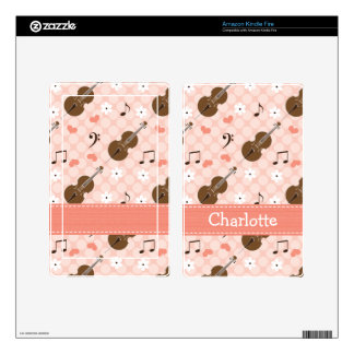 Pink Music Note Cello Kindle Fire Skin