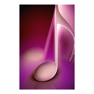 Pink music note stationery