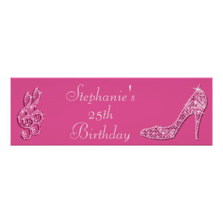 Pink Music Notes and Stiletto 25th Birthday Print