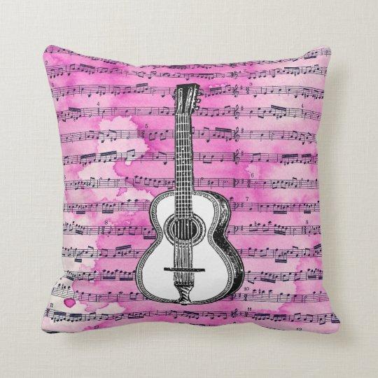 Pink Music Notes Guitar Throw Pillow