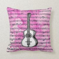 Pink Music Notes Guitar Throw Pillows
