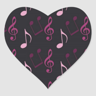 Pink Music Notes Heart Sticker