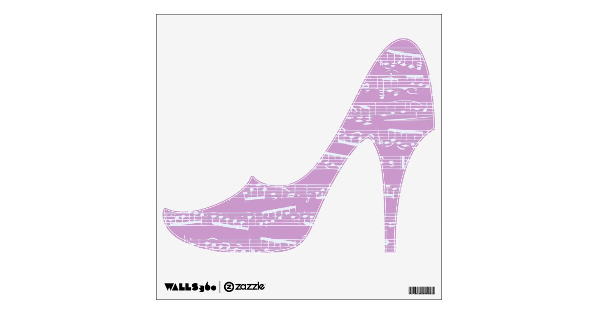pink notes high heel shoe wall decal zazzle