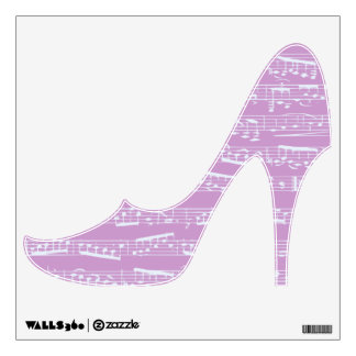 Pink Music notes high heel shoe wall decal