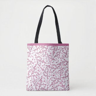 Pink Music Notes Pattern on Any Color Tote Bag