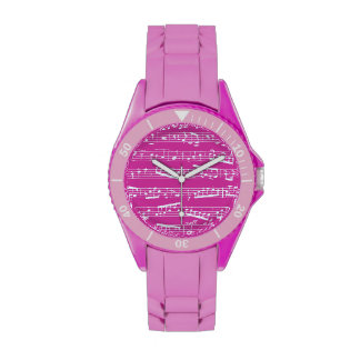 Pink music notes watch