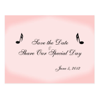 Pink Music Save the Date Postcard