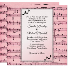 Pink Music Wedding Invitation at Zazzle