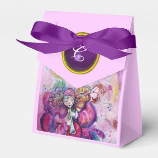 PINK MUSICAL CLOWN PURPLE GEM STONE MONOGRAM FAVOR BOX