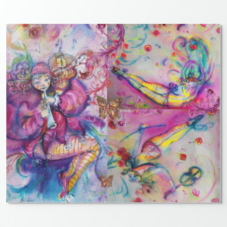 PINK MUSICAL CLOWNS ,BUTTERFLİES AND FLORAL SWIRLS WRAPPING PAPER