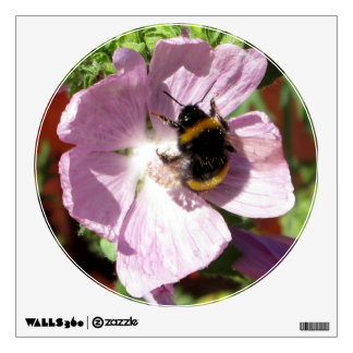 Pink Musk Mallow Flower and bee collecting pollen Wall Decal