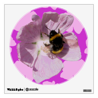 Pink Musk Mallow Flower and bee collecting pollen Wall Sticker