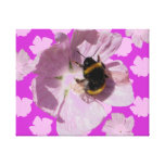 Pink Musk Mallow Flower and Bee Wrapped Canvas Stretched Canvas Prints