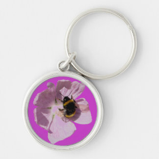 Pink Musk Mallow Flower & Bee Key Chain